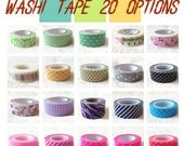 Japanese Washi Paper Tape, Masking Tape, Dots, Stripes, Flowers, Branches, Leaf, bear, bee--20 Options-Free Shipping