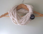 Winter White Chain Scarf .. Infinity Scarf .. Winter White Scarf .. Scarf Necklace .. Indie Clothing .. Eternity Scarf .. Circle Cowl
