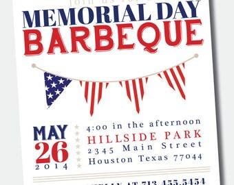 Customizable Memorial Day / July 4th BBQ / Picnic Invitation