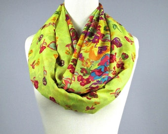 Spring infinity scarf with a floral print