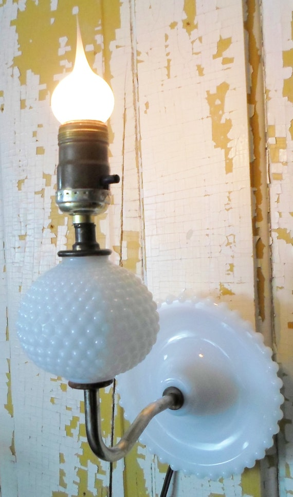 Hob Nail Milk Glass Wall Sconce Electric Cottage Chic