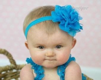 Baby Headband, Infant Headband, Newborn Headband - Bright Aqua Blue Headband, Frayed Chiffon and Lace Flower Headband, Bright Aqua Headband