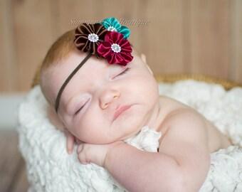 Fall Baby Headband, Infant Headband, Newborn Headband, Toddler Headband -Fall Satin Flower Cluster, Burgundy, Brown, and Teal