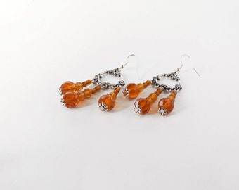 Topaz chandelier earrings handmade with topaz glass and crystal beads. ooak made in Italy