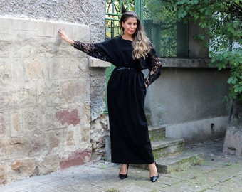 Long Sleeve Black Maxi Dress, Black Caftan Dress, Party Dress, Long Elegant Dress, Sizes S, M and L