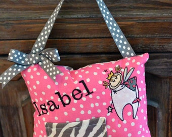 Personalized Tooth Fairy Pillow-Pink Polka Dot with Grey Zebra