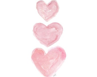 Pink Watercolor Heart Print, 5x7, Pink Nursery Decor, Pink Nursery Art, Girls Pink Wall Art, Pink Painting, Nursery Watercolor