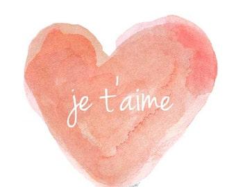 Je t'aime Watercolor Art Print, Coral Nursery Art, Peach Nursery Decor, New Mom Gift, New Baby Gift, Love Quote, French Nursery Art 5x7