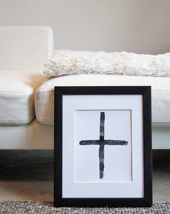 Black and White Art, Cross Painting, 8x10 Watercolor Print ,Black and Gray Modern Art, Contemporary Cross, Southwest Decor, Santa Fe Style