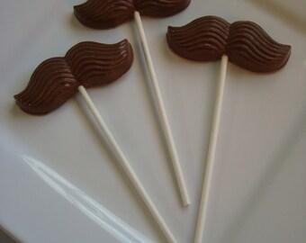 12 Milk Chocolate Mustache Lollipops Mario Birthday Party Favors Little Man Baby Shower
