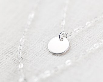 Aniani necklace - double layered sterling silver disc necklace, delicate simple silver necklace, double strand necklace, maui, hawaii