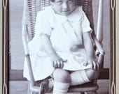 Vintage Mounted Photograph of Little Girl in Chair