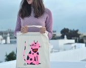 Hand painted tote bag // Pink Dappled Cat // Wool bowtie // Cotton canvas