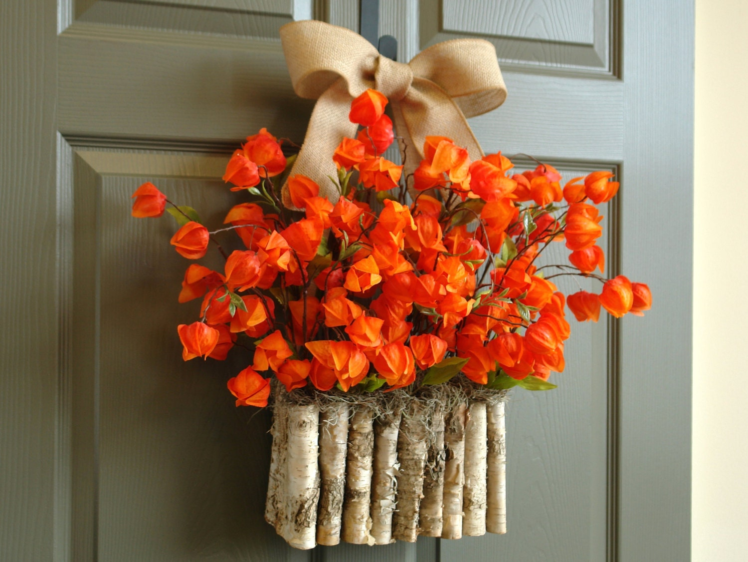 Fall wreath fall wreaths orange front door wreath by Fall autumn door wreaths