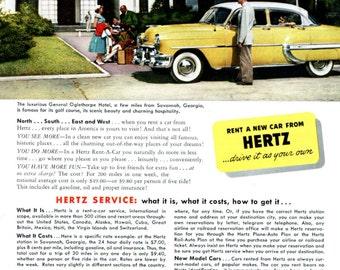 Savannah Georgia General Oglethorpe Hotel 1950s Hertz Vintage Ad Rental Car