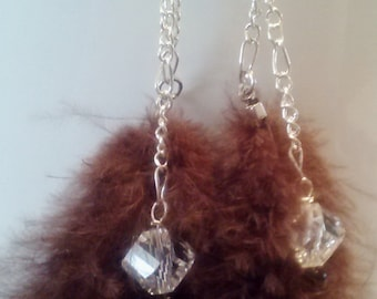 Crystal and brown feather earrings
