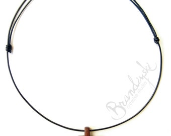 Original Handmade Wooden Pendant - mahogany, oak and 2.5mm natural black leather cord