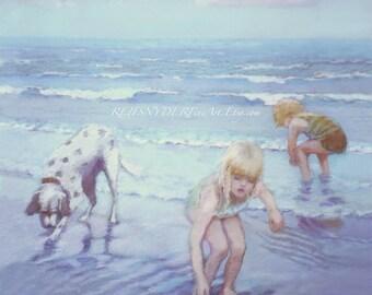 Two Blonde Children, Beach print, seashore scene, boy and girl, dog, playing, blue, seaside art, figures, ocean surf, kids, water, dalmation