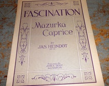 """Vintage Music Sheets, """"Fascination"""", Mazurka Caprice, Piano, By Jas. Heindot,  Old,  Music Score, Sheet Music, OP 21"""