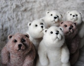 Wholesale - Bunch of Bears, Needle Felted Bears For Home Decoration, Handmade Animals, Christmas Gift - Set of 6 - Made to order