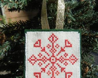 Christmas Ornament, Cross Stitch Folk Star, Folk Art, Christmas Tree Decor