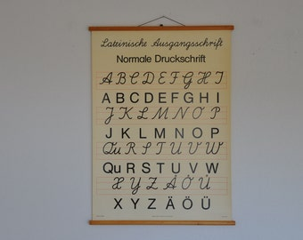 SALE Authentic Vintage Pull Down Alphabet Chart. Handwriting and Print. Black and White.  Vintage German.