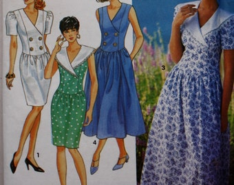 Womens Dress Pattern/ Slim or Full Skirt /Simplicity 7914 Sewing Pattern /Bust 34-36-38/ UNCUT