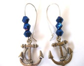 Nautical Anchor Earrings with Blue Crystals, Anchor Earrings with Crystals, Nautical Jewelry, Ocean Sailing Inspired Jewelry