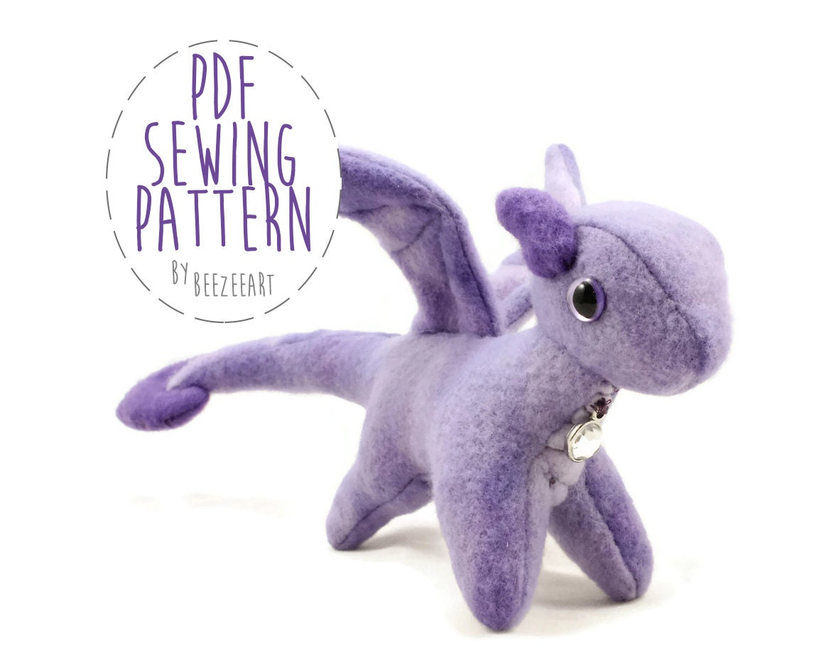 Tiny dragon stuffed animal sewing pattern small dragon for Sewing templates for stuffed animals