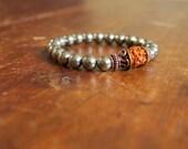 Pyrite Beaded Stretch Mala Bracelet Rudraksha and Copper Gemstone Prayer Beads Bracelet For Men Silver Beads Wrist Mala Spiritual Jewelry
