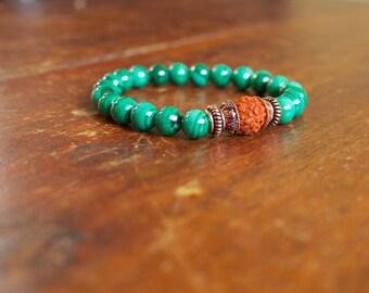Beaded Malachite Bracelet Wrist Mala Japa Meditation Yoga Jewelry for Men and Women Heart Chakra Beaded Spiritual Jewelry Green Gemstone