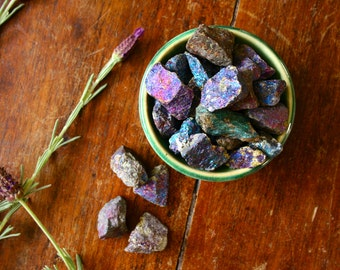 Rough Chalcopyrite Crystal Peacock Ore Raw Healing Gemstone Higher Chakras Wire Wrapped Jewelry Supply Rainbow Stone Mystical Crystals