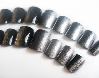 Silver and Black Fake Nails, Side Manicure, Acrylic Nails, False Nails, Press on, Nails, Silver, Black, Ombre