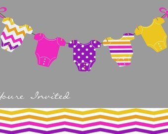 15 Invites - Modern Chevron Baby Shower Invitations - with Envelopes
