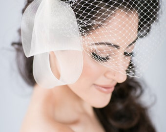 Asymmetrical Bridal Hair Bow Fascinator with Pearl Beaded Center