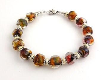 Sparkling Sands Glass Beaded Bracelet, Lampwork Bracelet, Mother's Day, Beadwork Bracelet, Gifts, Career Wear, Fashion Jewelry