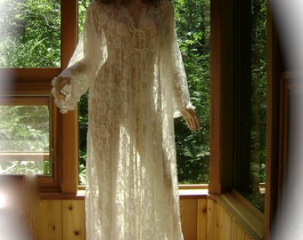 Bridal Nightgown Robe in Cream Floral Mesh, Lace Trim and Silk Charmeuse Ties with Matching Bikini Panty
