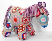 Crochet stuffed toy pony horse