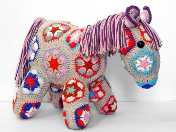 Crochet African Flower Horse Pattern : Crochet stuffed toy pony horse toy pony toy by UrbanStyleKnit