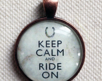 Keep Calm and Ride Horseshoe Pendant - 50% donation to Western Montana Equine Rescue & Rehabilitation - great horse lover, equestrian gift
