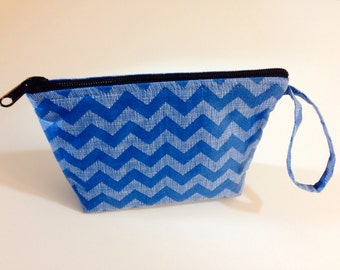 Blue Chevron Make Up Bag - Accessory - Cosmetic Bag