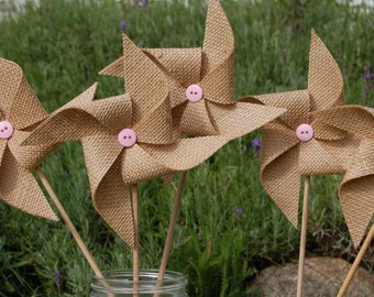 Rustic Burlap Wedding - Light Pink Blush Wedding Pinwheel Decoration - Rustic Shower