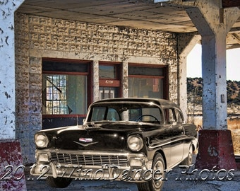 Route 66 Shell Station, Arizona Rt 66, '56 Chevy, Old Gas Station, Rt 66, Retro, Americana, Fine Art Photo, Gift for Guys, Man Cave, Garage