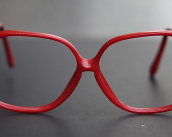 80s Red Eye Glasses KEYHOLE Thick Frame Marble Bright Cherry Red Prescription Eyewear