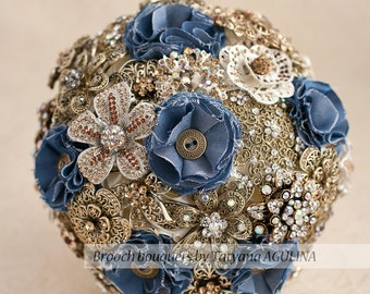 Brooch bouquet. Rustic and Denim wedding brooch bouquet, Jeweled Bouquet. Made upon request