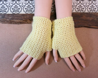 Crochet Fingerless Gloves, Wrist Warmers, Lemon Arm Warmers, Wool Mittens, School Gloves, Australia, Nchanted Gifts