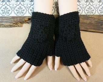 Crochet Fingerless Gloves, Wrist Warmers, Black Arm Warmers, Crochet Flower, Wool Mittens, School Student Gloves, Australia, Nchanted Gifts