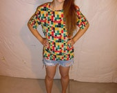 Vintage Bright Funky Geometric Square Pattern 1980's Blouse Size Medium