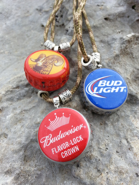 Beer cap necklaces budweiser bud light shiner bottle for Beer cap jewelry