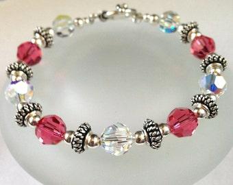 Swarovski Crystal Bracelet, Beaded Jewelry, Pink Bead Bracelet, Swarovski Crystal Jewelry, Sterling Silver Jewelry, Pink Jewelry